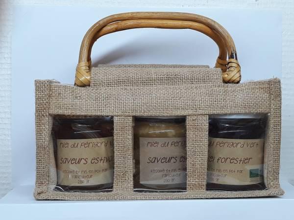 Panier 3 pots de miel bio de 250 gr
