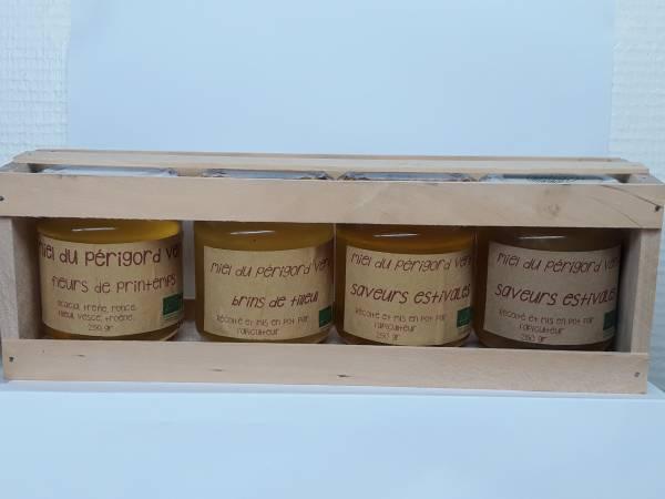 coffret bois 4 pots miel 250 gr